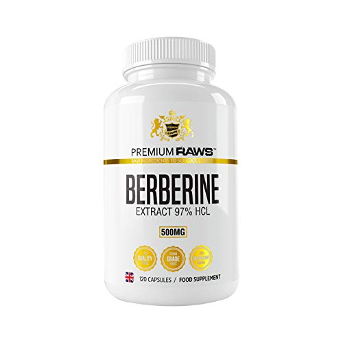 Berberine Hcl 97% Purity 500mg -120 Veggie Capsules Supplement, Supports Glucose Metabolism, Blood Sugar, Immune System & Weight Management.