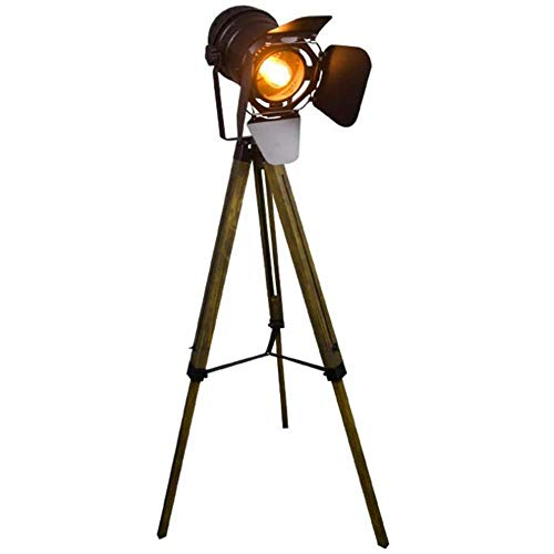Lámpara De Pie, Lámpara De Pie De Cine Ajustable Náutico Negro Creatividad Estilo Retro Trípode Focos Proyectores Trípode De Madera Luz De Suelo Cine