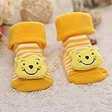 Calcetines para bebés Piso Antideslizante Algodón Calcetines de muñeca de Dibujos Animados con Campanas Bebé Niñas NiñosBotasSuaves yBonitas-Winnie-5-9M