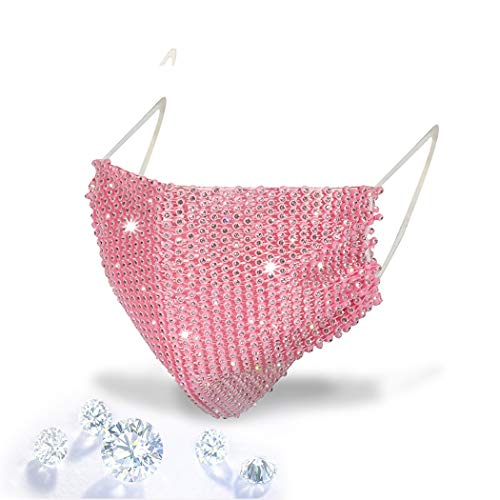 Sparkly Rhinestones Mesh Mask Masquerade Mask for Women Crystal Rhinestones Face Mask Luxury Masks For Halloween Nightclub Party Prom Ball Venetian Mardi Gras Costume Fancy Dress Party Supply (PINK)