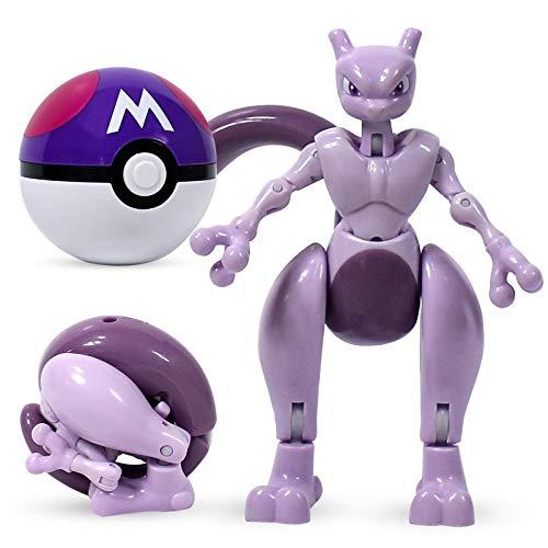 agzhu Pokemon Toy Figur Mewtwo Pikachu Pocket Elf Ball Manuelle Verformung Roboter Elf Baby Set Film & TV Geschenk für Kinder