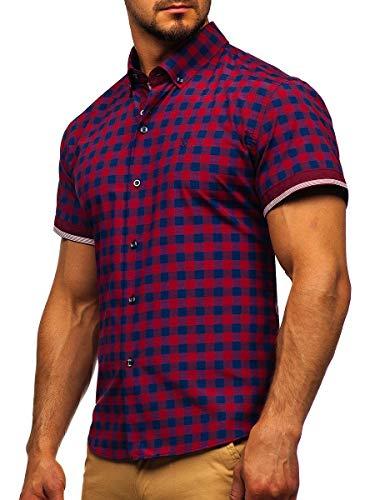 BOLF Herren Hemd Kurzarm Trachtenhemd Karohemd Freizeithemd Slim Fit Kariert Baumwollmischung Sommer Casual Style 4508 Rot M [2B2]
