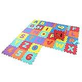 Alfombra Puzzle Infantil, 36 Piezas Alfombras de Foam Encajables N¨²Meros y Letras Gruesa y Suave para Gatear y Aprender, 30 x 30 x 1 cm