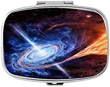 Starry sky, panoramic background Rectangular pill box/pill case- 2 Compartments for Keeping Pills Separate pill box/pill case