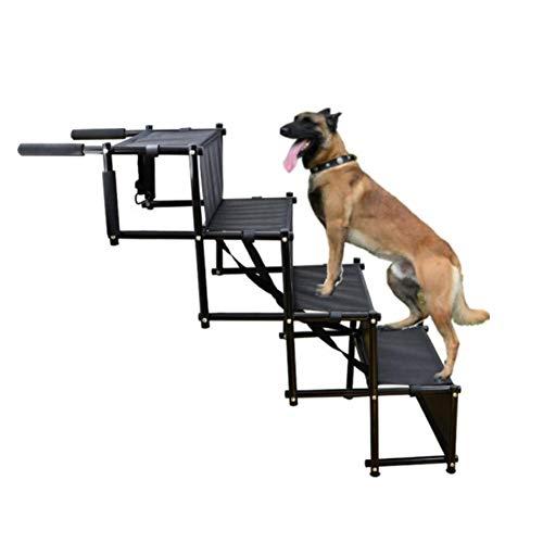 Faltbare Hundeauto-Stufentreppe - Metallrahmen Klappbare Hunderampe für Auto, leichte tragbare große Hundeleiter, Haustierleiter für LKWs Auto Indoor Outdoor Verwendung