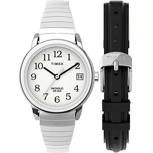 Timex Reloj de Easy Reader Fecha banda de expansión para mujer, Casual, Plateado/Blanco