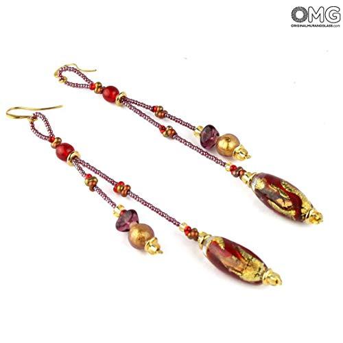 Pendientes largos de cristal de Murano OMG, color rojo