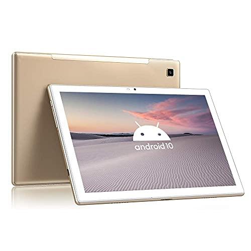 Blackview Tab8 Tablet 10,1 Zoll Android 10 Tablet-PC (1920x1200 FHD 6,580mAh Akku, Octa-Core-Prozessor, 4GB RAM, 64GB ROM, 13MP + 5MP Kamera, 4G LTE + 5G-WiFi, Face ID, GPS, Bluetooth 5.0, OTG) (Gold)