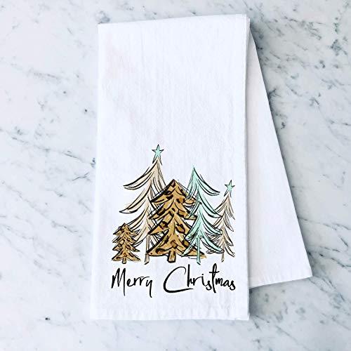 Merry Christmas Leopard Print Tree Flour Sack Kitchen Towel Holiday Home Decor