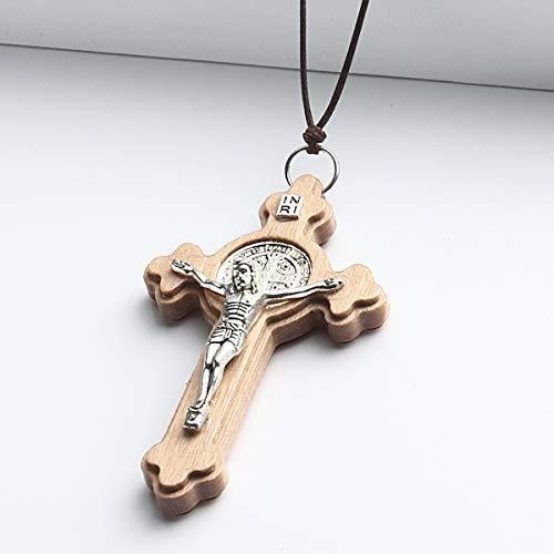 Naswi Collar De Cruz Católica Latina Religiosa, Crucifijo De Madera Grande con Colgante De Cruz, Collares para Hombres, Mujeres, Cadenas De Cuerda Ajustables, Joyería