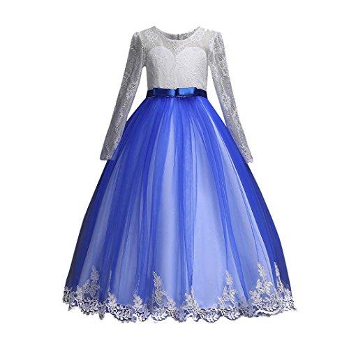 Hirolan Hirolan Baby Mädchen Prinzessin Brautjungfer Festzug Kleid Geburtstag Party Hochzeitskleid Bogen Festlich Brautjungfern Kleid Hochzeit Partykleid mit Spitze Tüll Festzug (Blau,170)