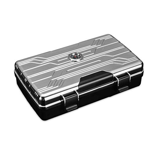 JJZXD Waterproof Cigar Travel Humidor for 10 Cigars - Integrated Hygrometer and Humidifier Included (Color : B)
