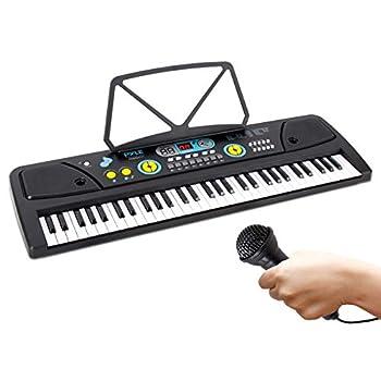 Digital Piano Kids Keyboard - Portable 61 Key Piano Keyboard Learning Keyboard for Beginners w/ Drum Pad Recording Microphone Music Sheet Stand Built-in Speaker - Pyle PKBRD6111 Black