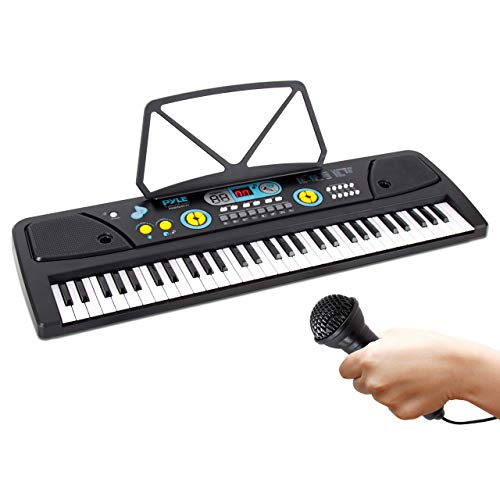 Digital Piano Kids Keyboard - Portable 61 Key Piano Keyboard, Learning Keyboard for Beginners w/ Drum Pad, Recording, Microphone, Music Sheet Stand, Built-in Speaker - Pyle PKBRD6111 , Black