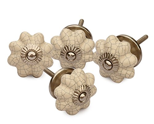 Deals for The Day - abhandicrafts - Set of 4 Ceramic White Pumpkin Decorative Antique Door Knobs for Kitchen Bathroom Cabinet Dresser Drawers Wardrobe Closet Door Pulls
