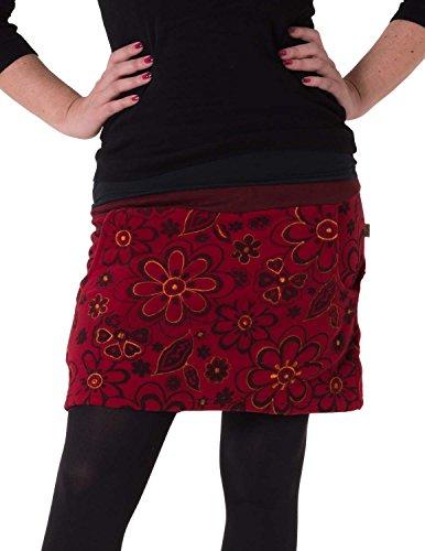 Vishes - Alternative Bekleidung - Warmer Fleece Rock mit aufgestickten Blumen rot 36