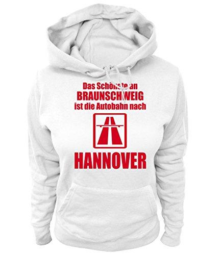 Artdiktat Damen Hoodie - Anti Braunschweig Größe XXL, weiß