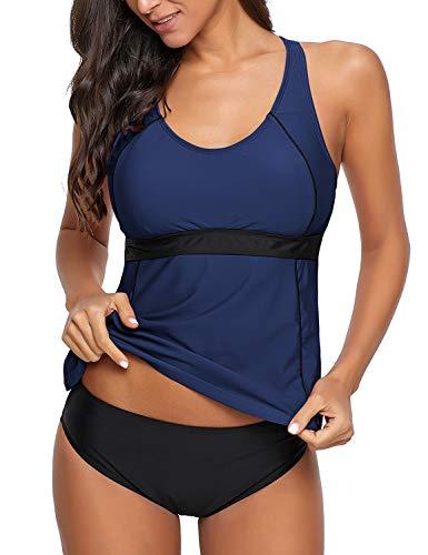 Roskiky Damen Tankini Set mit Runder Ausschnitt Zweiteiliges Badeanzug Beachwear Marineblau Größe M