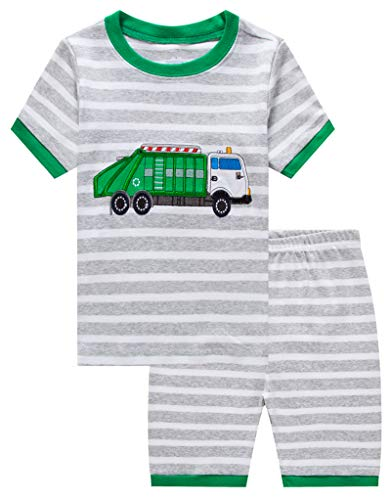 Family Feeling Baby Boys Garbage Truck Pajamas Short Sets 100% Cotton Infant Kid 18-24 Monthes