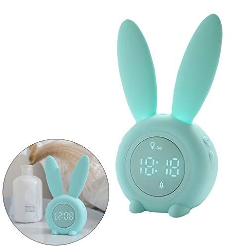 Lichtwecker LED Digitaler Wecker Großes Display im Hasen Ohren Design, Magnetisch Reisewecker Tischuhr Wake Up Licht Nachttischlampe - VNEIRW Kann am Kühlschrank angebracht Werden (Grün)