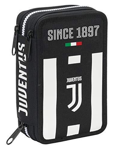 Astuccio 3 Zip Juventus Coaches, Bianco & Nero, Con materiale scolastico: 18 pennarelli e 18 pastelli Giotto, penna Tratto Cancellik …