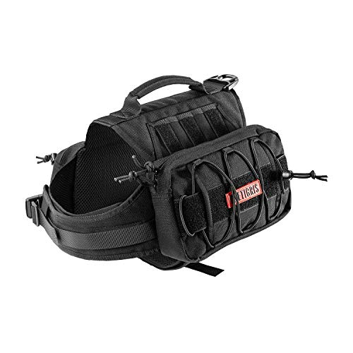 OneTigris Dog Pack Hound Travel Camping Hiking Backpack Saddle Bag Rucksack for Medium & Large Dog (Black Advanced Version for Medium Dog - 1000D Nylon)