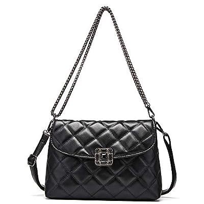 Small Crossbody Messenger Bag for Women Fashion 2020 Female Leather (Black)