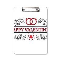 赤と黒の幸せなバレンタインデー フラットヘッドフォルダーライティングパッドテストA4