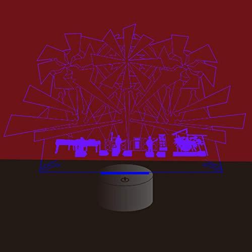 Yujzpl 3D-illusielamp Led-nachtlampje, USB-aangedreven 7 kleuren Knipperende aanraakschakelaar Slaapkamer Decoratie Verlichting voor kinderen Kerstcadeau-band