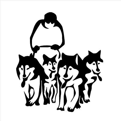 57x66cm un conjunto de pegatinas de pared artísticas de perro Husky, trineo, vinilo, muralista, uso, sala de estar, decoración de la casa, pegatinas de pared