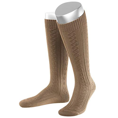 JD Lange Damen Trachtensocken Trachtenstrümpfe Zopf Socken, 42-44, Hellbraun