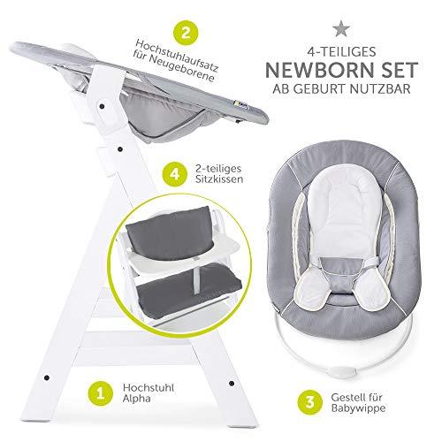 Hauck Alpha Plus Newborn Set Trona de madera evolutiva beb/és altura regulable incluye hamaca para reci/én nacidos coj/ín gratis color gris
