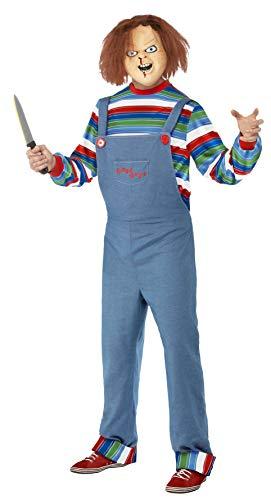 Smiffy's - Chucky kostuum, bovenstuk, broek en masker, blauw Medium blauw