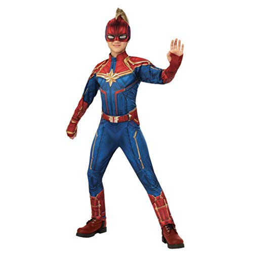 Rubie's Captain Marvel Children's Deluxe Hero Suit, Large 700597, Blue/Red