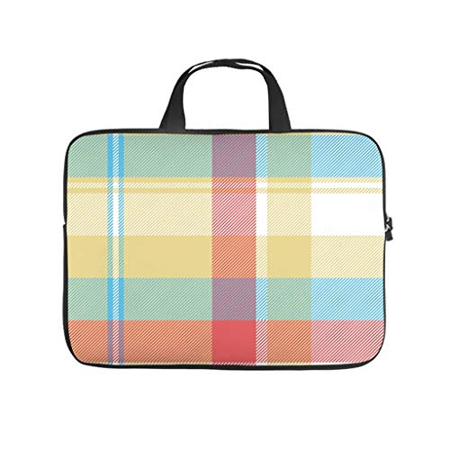 Colourful Plaids Scottish Tartan 3D Print Laptop Bag Protective Case Durable Neoprene Laptop Bag Case Tablet Bag Bag for Women Men