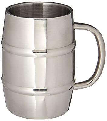 Stainless Steel Beer Mug w/ Bonus Lid, 17oz Dual Wall Air Insulated Beer & Beverage Mug / Coffee Cup - Keep Your Beer Colder & Coffee Hotter Longer - A Mans Mug