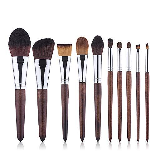 Pinceau de maquillage Set 10 pièces cosmétiques professionnels Brosses Ebony cheval maquillage Brosse à cheveux,Marron