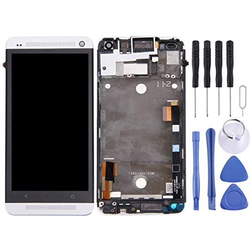 YAHLSEN LCD-Display + Touch Panel mit Rahmen for HTC One M7 / 801e (schwarz) Q (Color : Silver)