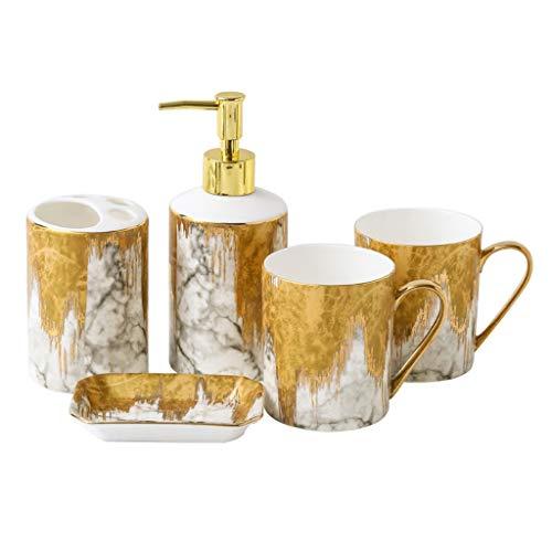 Xuejuanshop Despachador de Jabón Baño Vendimia Patrón de cerámica Set de Accesorios, 5 Piezas Conjunto de Accesorios de baño con pintadas a Mano Oro dispensador de jabón, Cepillo de Dientes Titular,
