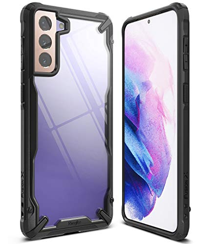 Ringke Fusion-X Compatible con Funda Galaxy S21 (6,3 Pulgadas), Transparente Rigida Carcasa Parachoque TPU Resistente Impactos Funda Negra - Black (Negro)