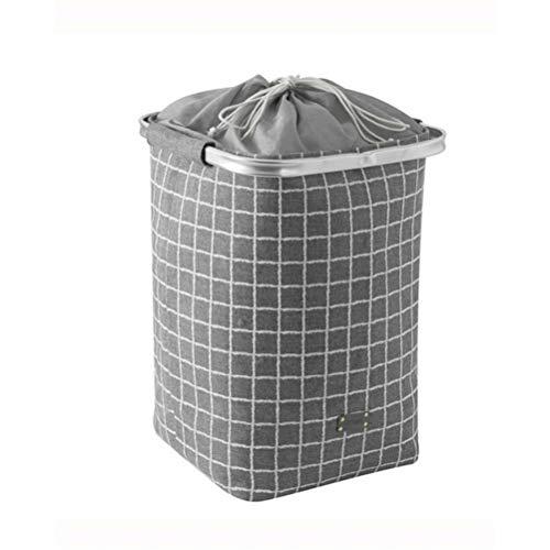 DZHT Ropa de Cama Cesta de lavandería de Primavera Diseño Elegante Adecuado para Gustos Aluminio Inoxidable 35x35x50 Cm Gris