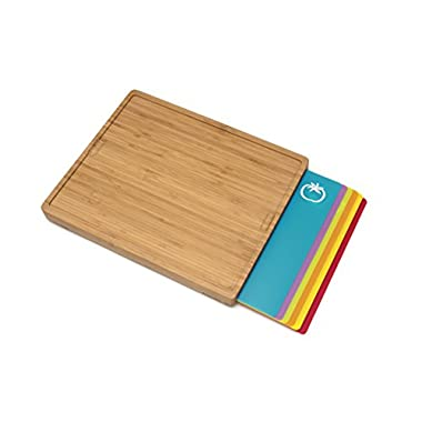 Lipper International 8869 Bamboo Wood Cutting Board with 6 Colored Poly Inlay Mats, 16  x 13-1/8  x 1-5/8