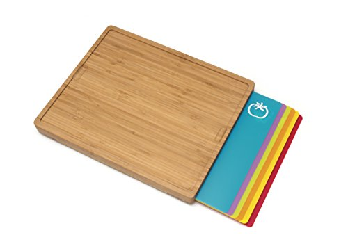 Lipper International 8869 Bamboo Wood Cutting Board with 6 Colored Poly Inlay Mats, 16