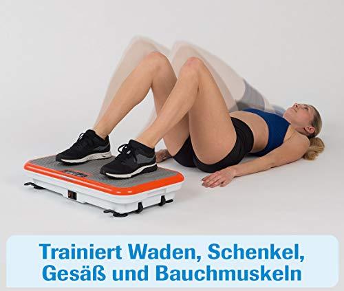 MediaShop VibroShaper – Fitness Vibrationsplatte unterstützt bei Muskelaufbau und Fettverbrennung – Vibrationstrainer für alle Muskelgruppen – inklusive Fitnessbänder – orange - 9