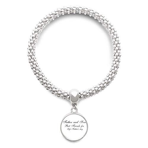 DIYthinker Womens Vader en zoon Festival citaat Sliver armband ronde hanger sieraden ketting