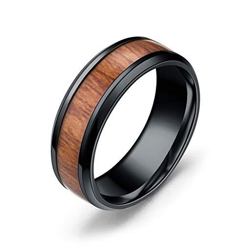 Yinuneronsty - Anillo de compromiso para boda con incrustaciones de madera, titanio y acero, talla 6-13
