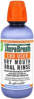 TheraBreath CBD User Dry Mouth Oral Rinse, Natural Spearmint, 16 Oz Bottle