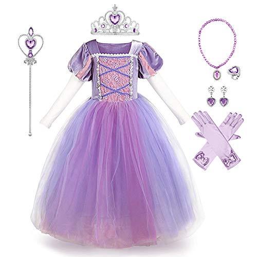 IBAKOM Kinder Mädchen Sophia Kostüm Prinzessin Rapunzel Kleid Festival Karneval Märchen Cosplay Faschingskostüm Urlaub Halloween Weihnachten Geburtstag Outfit Violett (mit Zubehör) 7-8 Jahre