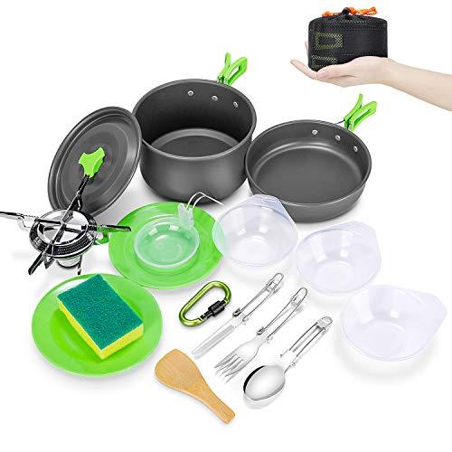 Magicfun Kit de Utensilios Cocina Camping, Plegable 18Pcs Juego Utensilios Cocina Acampar con Olla & Sartén, Kit de Cocina Aluminio para Acampada Camping, 2-3 Personas