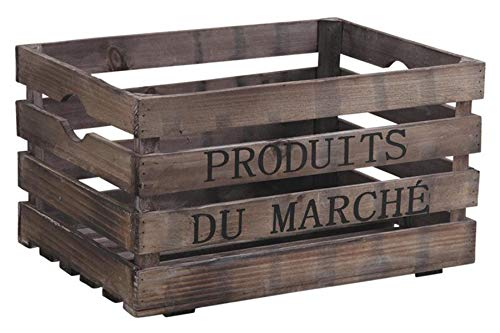 PEGANE Caisse de Rangement en Bois Vieilli, laqué Brun, 40 x 30 x 22 cm
